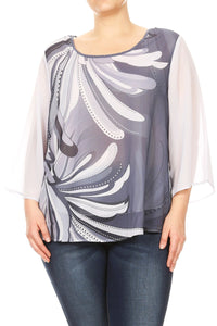 Women Plus Size Chiffon Abstract Design Solid Color Sleeve Top Tee Blouse Grey SE17024-18