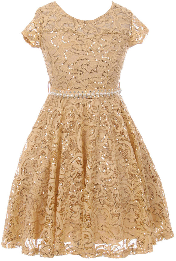 Big Girl Cap Sleeve Floral Lace Glitter Pearl Holiday Party Flower Girl Dress Champagne 8 JKS 2102