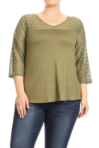 Women Plus Size Round Neck Quater Lace Sleeve Top Tee Blouse Green SE17026