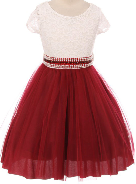 Flower Girl Dress Shiny Mesh Skirt with Pearl & Rhinestone for Little Girl Burgundy 8 JKS.2045