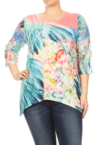 Women Abstract Mix Color Plus Size T Shirts Tops Tee Blouse Multi SE17016-3