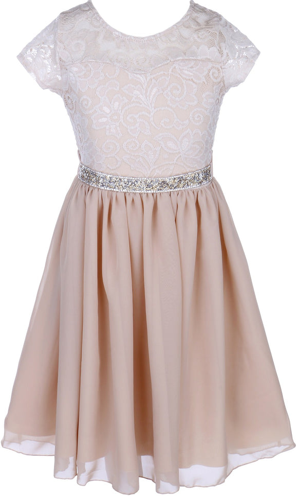 Flower Girl Dress Lace Cap Sleeve Top Chiffon Tea Length for Big Girl Champagne 8 JK20.53S
