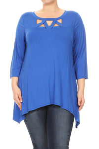 Women Plus Size Openly Crossed Chest Opening Tunic Top Tee Blouse Blue SE17037