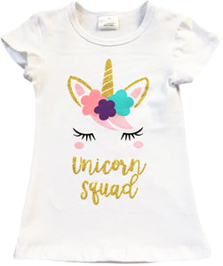 """Unicorn Squad"" Print Tee T-Shirt Top for Big Girl White 201431"
