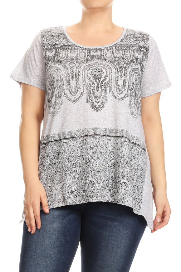 Women Rhinestone Embellishment Cotton Tee Plus Size T Shirts Tops Blouse Grey SE17020-3