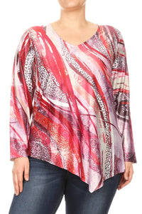Women Plus Size Long Sleeve Abstract Leopard Tunic Top Tee Blouse Red SE17025-1