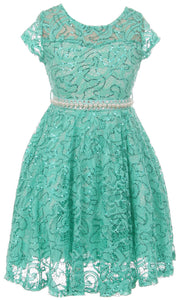 Big Girl Cap Sleeve Floral Lace Glitter Pearl Holiday Party Flower Girl Dress Jade 8 JKS 2102
