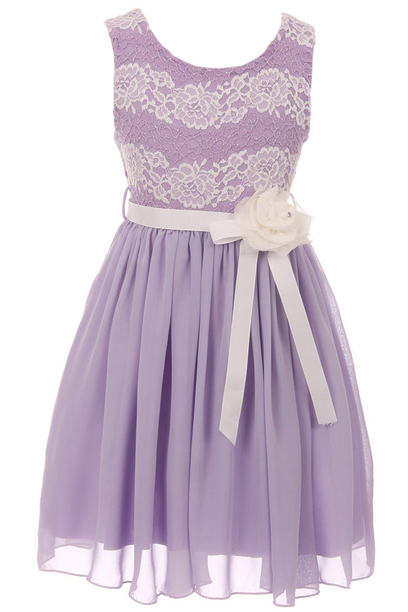Big Girl Sleeveless Lace Chiffon Graduation Wedding Flower Girl Dress USA Lilac 8 JKS 2134