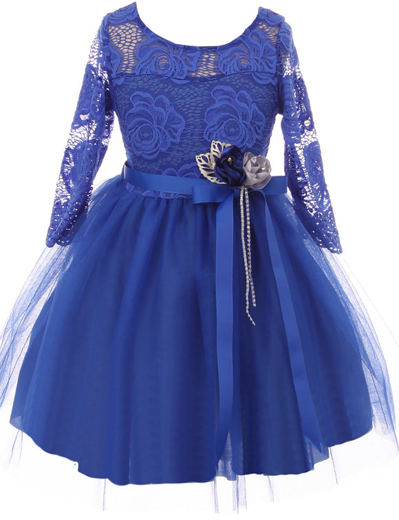 Big Girl Floral Lace Top Tulle Flower Holiday Party Flower Girl Dress USA Royal 8 JKS 2098