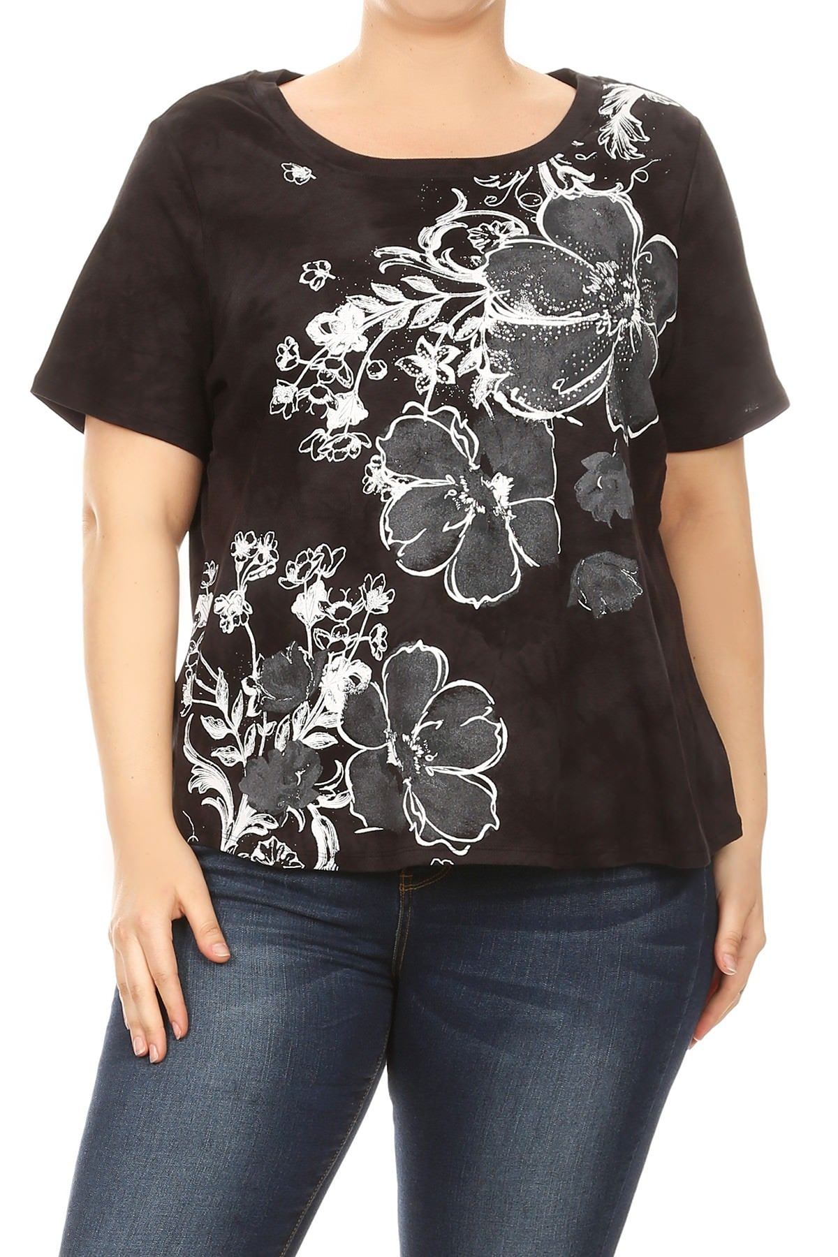 9fde101a5efd48 Women Plus Size Tye-Dye Floral Design Short Sleeve Top Tee Blouse Black  SE16048 ...