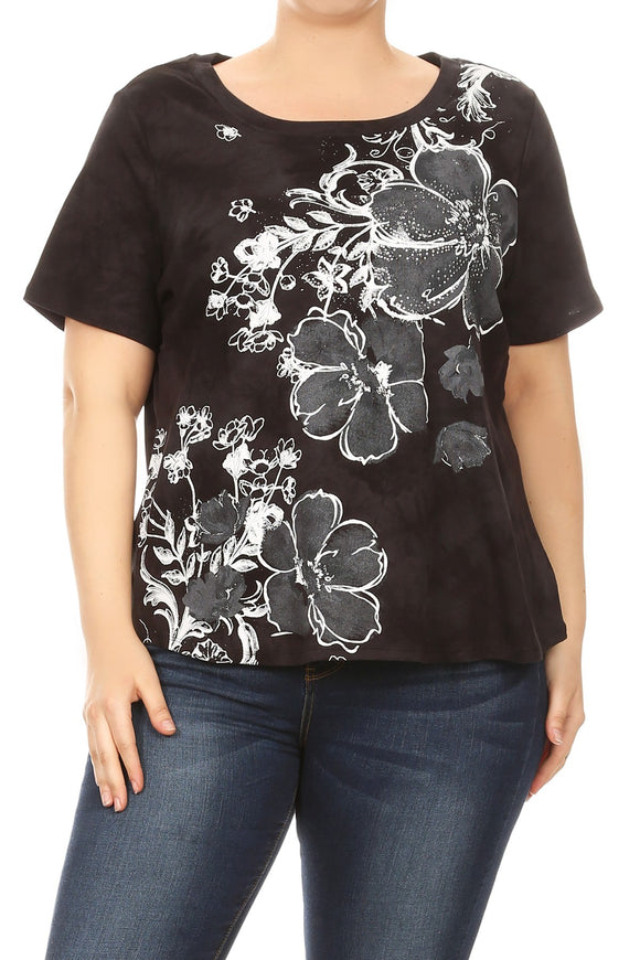 Women Plus Size Tye-Dye Floral Design Short Sleeve Top Tee Blouse Black SE16048