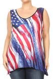 Women Plus Size Graphic Print Relaxed Fit Tank Top Tee Red SE17010
