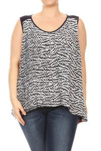 Women Plus Size Chiffon Sophisticated Tank Top Tee Navy SE17003A
