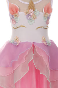 Sleeveless  Pearl Unicorn Layered Dress for Little Girl Pink 060818