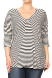 Women Plus Size Striped V-Neck Quarter Sleeve Top Tee Blouse Grey SE17015