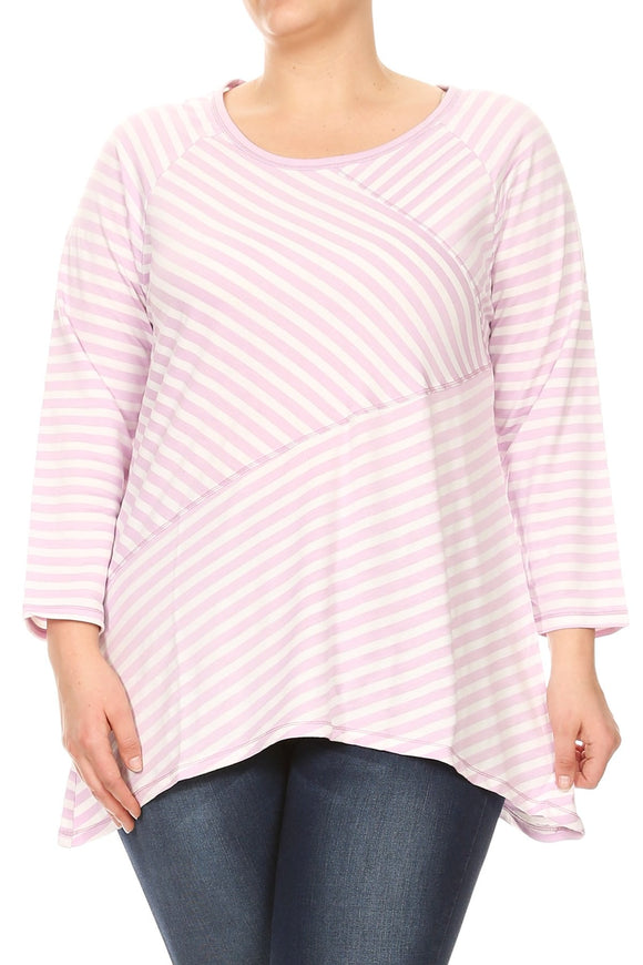 Women Plus Size Asymmetrically Striped 3/4 Sleeve Top Tee Blouse Light Purple SE16008-5