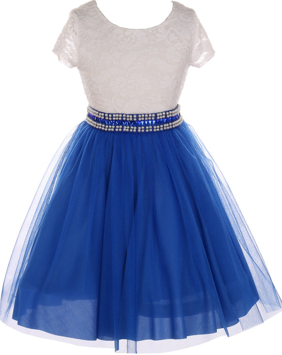 Flower Girl Dress Shiny Mesh Skirt with Pearl & Rhinestone for Little Girl Royal 8 JKS.2045