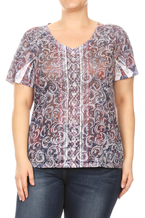 Women Plus Size V Neck Rhinestone Design Short Sleeve Top Tee Blouse Navy SE16045-2