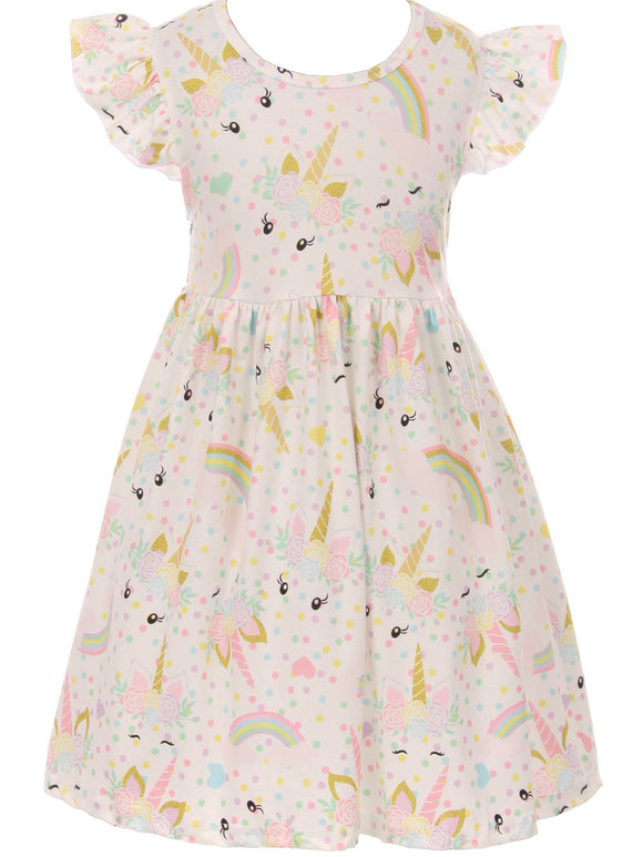 Unicorn Print Slip-on Dress for Little Girl Off White 201249