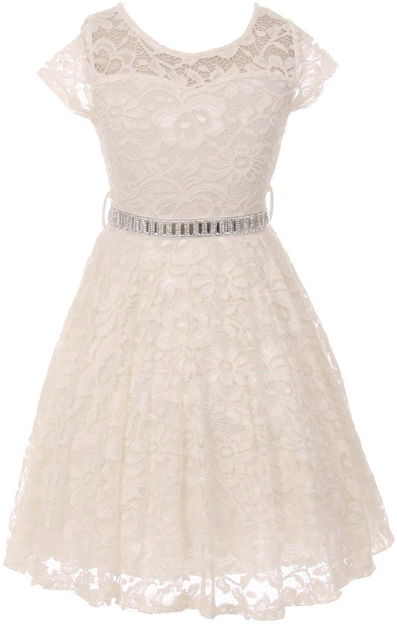 Flower Girl Dress Cap Sleeve Jewel Belt Floral Lace All Over for Big Girl Off White 14 JK19.88S