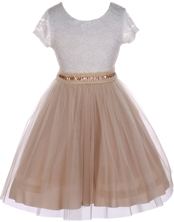 Flower Girl Dress Shiny Mesh Skirt with Pearl & Rhinestone for Little Girl Champagne 8 JKS.2045