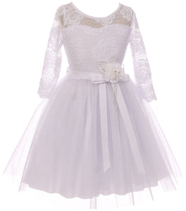 Big Girl Floral Lace Top Tulle Communion Easter Flower Girl Dress USA White 8 JKS 2098
