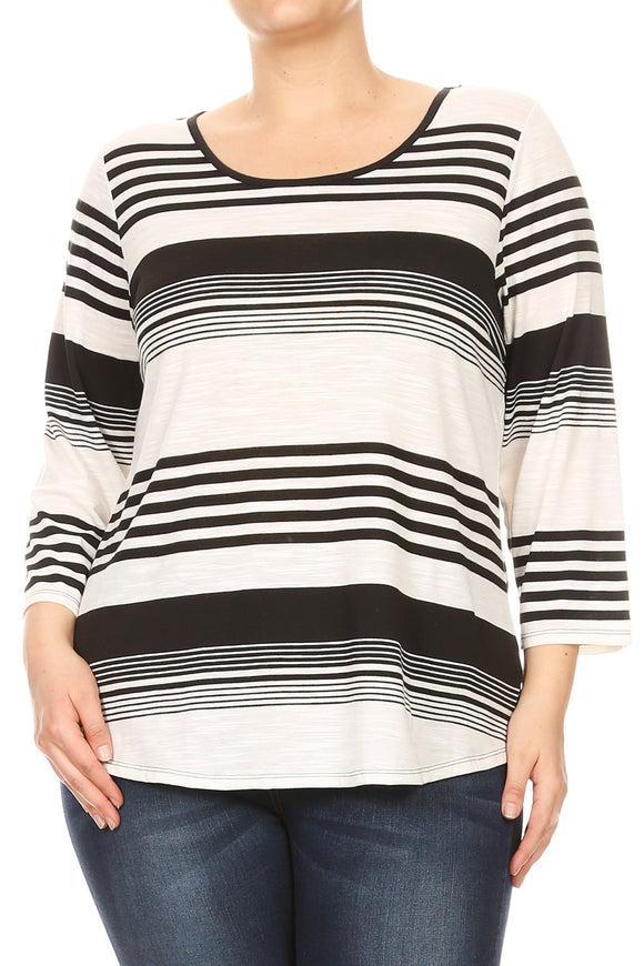 Women Plus Size Striped Quarter Sleeve Black Lace Detail Top Tee Blouse Black SE17012