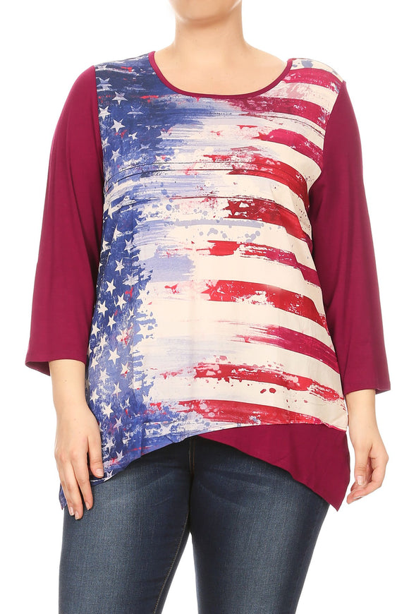 Women Amstract American Flag Baseball Tee Plus Size T Shirts Tops Blouse Burgundy 17017