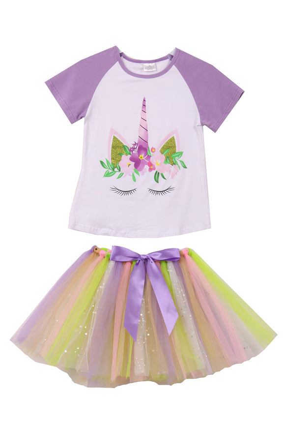 Unicorn Print Tee T-Shirt Top for Big Girl Lilac 201377