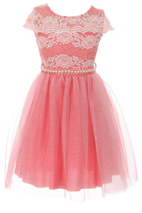 Big Girl Cap Sleeve Lace Pearl Tulle Graduation Wedding Flower Girl Dress USA Coral 8 JKS 2133P