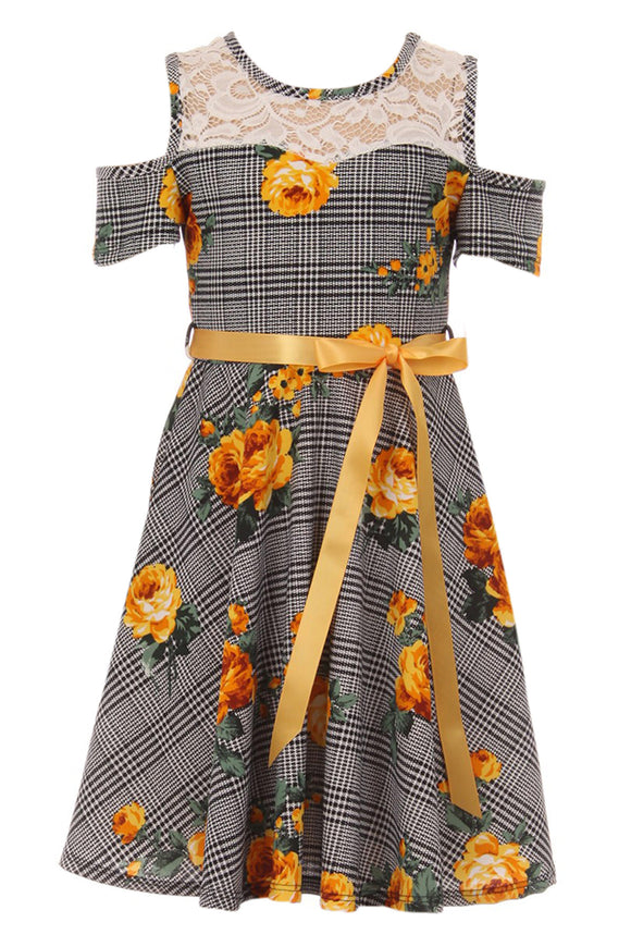 Big Girl Cold Shoulder Lace Floral Summer Birthday Flower Girl Dress Yellow 8 JKS 2130