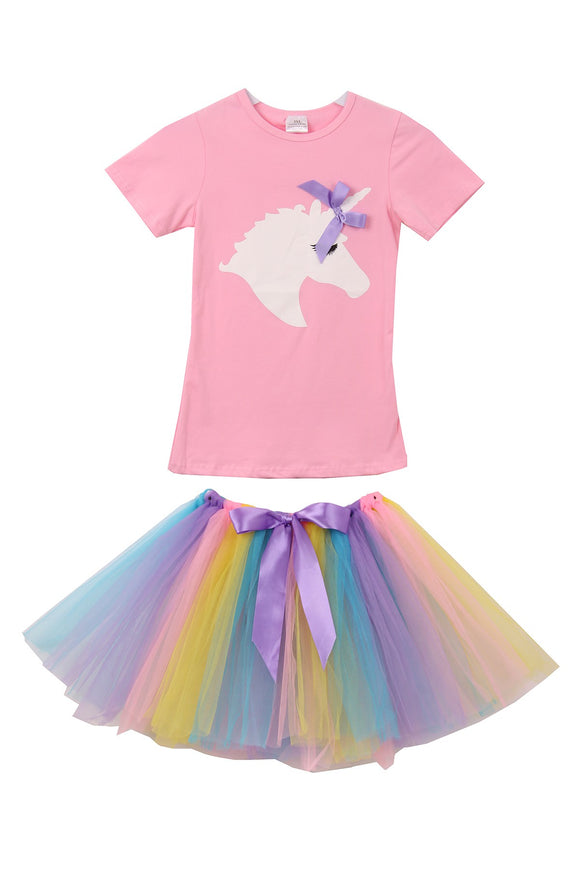 Unicorn Tee Rainbow Tutu T-Shirt Top for Big Girl Pink 201463