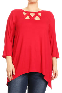 Women Plus Size Openly Crossed Chest Opening Tunic Top Tee Blouse Red SE17037