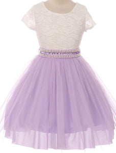Flower Girl Dress Shiny Mesh Skirt with Pearl & Rhinestone for Little Girl Lilac 8 JKS.2045