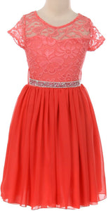 Flower Girl Dress Lace Cap Sleeve Top Chiffon Tea Length for Big Girl Coral 8 JK20.53S