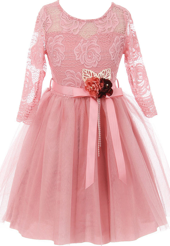 Big Girl Floral Lace Top Tulle Flower Holiday Party Flower Girl Dress USA Rose 8 JKS 2098