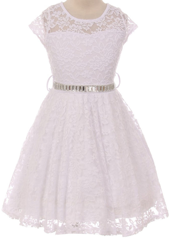 Flower Girl Dress Cap Sleeve Jewel Belt Floral Lace All Over for Big Girl White 8 JK19.88S
