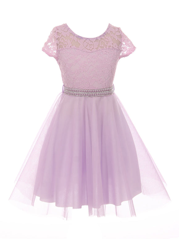 Big Girl Cap Sleeve Lace Tulle Pearl Belt Pageant Party Flower Girl Dress USA Lilac 8 JKS 2122