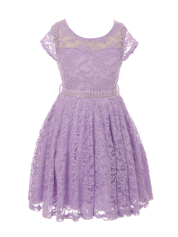 Flower Girl Dress Cap Sleeve Jewel Belt Floral Lace All Over for Big Girl Lilac 8 JK19.88S