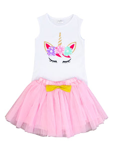 Unicorn Tank top Skirt T-Shirt Top Cami for Big Girl Pink 201486