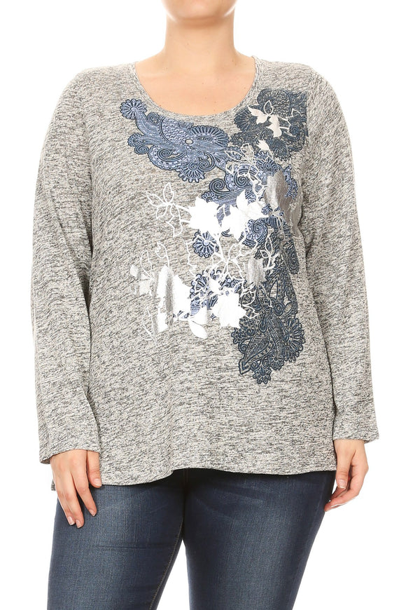 Women Plus Size Floral Foil Design Long Sleeve Top Tee Blouse Grey SE16047