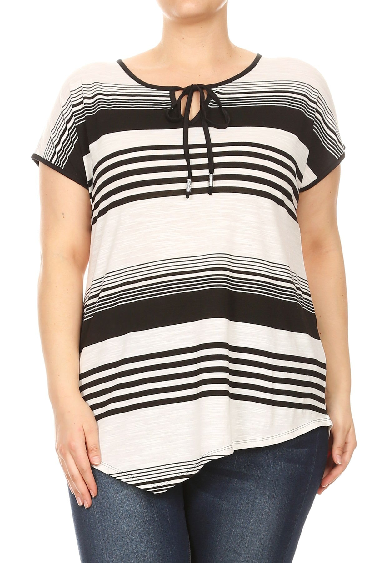59c6085574 Women Plus Size Thin and Thick Stripes Short Sleeve Top Tee Blouse Black  SE17013 ...