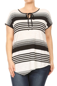 Women Plus Size Thin and Thick Stripes Short Sleeve Top Tee Blouse Black SE17013