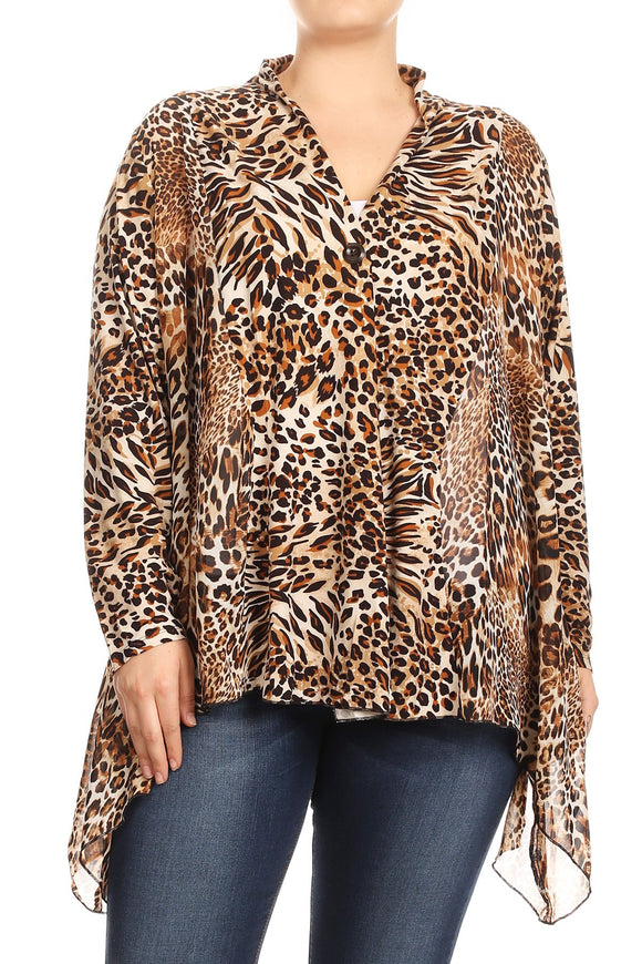 Women Plus Size Leopard Print Long Sleeve Loose Fit Cardigan Vest Top Coffee SE17041