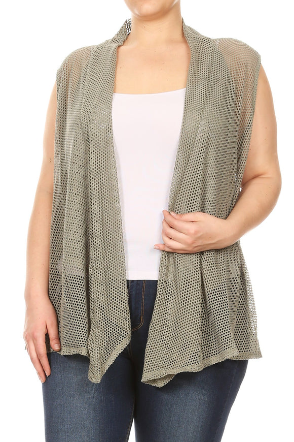 Women Plus Size Mesh Tank Netted Cardigan Vest Top Olive SE16033