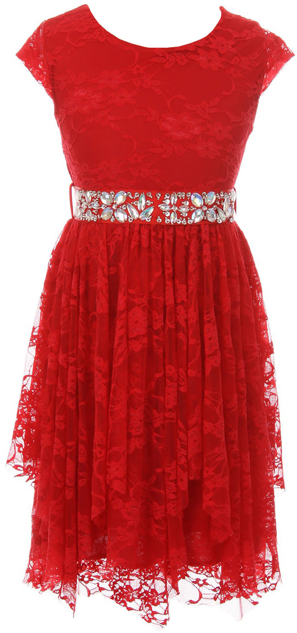 Big Girl Short Sleeve Floral Lace Ruffles Holiday Party Flower Girl Dress Red 8 JKS 2095