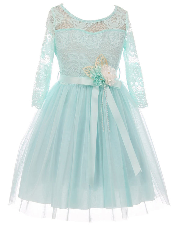 Big Girl Floral Lace Top Tulle Flower Holiday Party Flower Girl Dress USA Aqua 8 JKS 2098