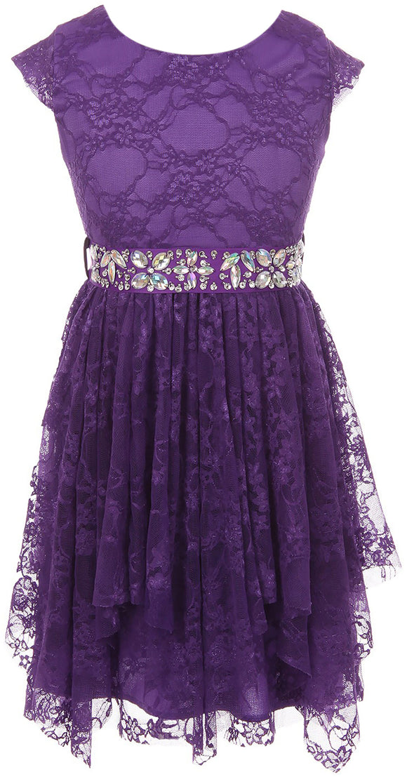 Big Girl Short Sleeve Floral Lace Ruffles Easter Summer Flower Girl Dress Purple 8 JKS 2095