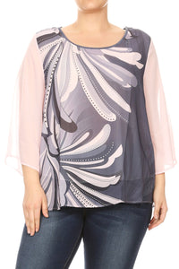 Women Plus Size Chiffon Abstract Design Solid Color Sleeve Top Tee Blouse Pink SE17024-12