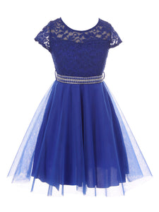 Big Girl Cap Sleeve Lace Tulle Pearl Belt Pageant Party Flower Girl Dress USA Royal 8 JKS 2122